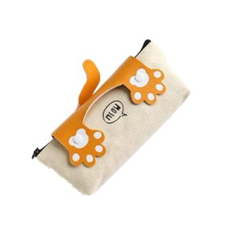 "Crazy Cats Paw ""Meow"" Orange Fabric Pencil Case Box"