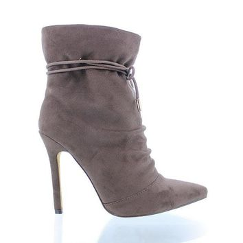 Taupe Pointy Toe Ankle Bootie
