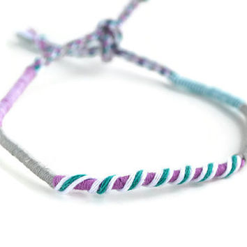 Purple Friendship Bracelet and Anklet, Light Purple, Teal, White and Grey Wanderlust Friendship Anklets