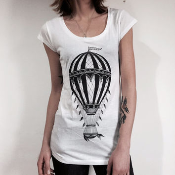 Hot air balloon vintage style women's t-shirt. White. Tee shirt for HER. Screen printed handmade design traditional tattoo style.