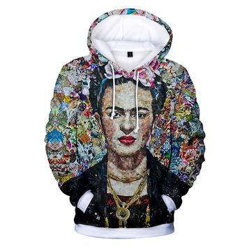 2018 Aikooki O Neck 3D Frida Kahlo Hoodies Men/women Autumn Warm 3D print Fashion Hip Hop Frida Kahlo Men's Hoodies Sweatshirt
