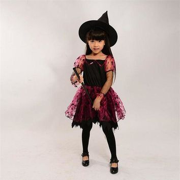 PEAPON Halloween Children Kids Baby Girl Witch Skirt + Hat Cosplay Costume Performance Clothes
