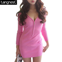 Tangnest Sexy Deep V-neck DRES 2016 Spring Summer Women Mini Bodycon Dress Zipper Short Club Wear Robe Slim Vestidos WQL2537