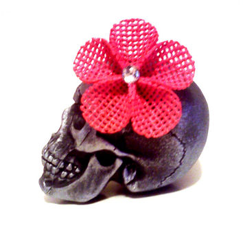 Neon Pink, Flower Hair Clip, Hawaiian Flower, Pin Up Hair, Rocker Hair, Rockabilly Hair, Gem Hair Clip, Pink Flower, Hot Pink Hair Clip