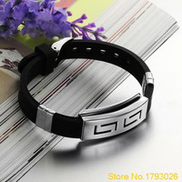 Punk Rubber Stainless Steel Wristband Clasp Cool Cuff Bangle Men's Black Bracelet 4T9U