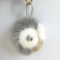 Baby Monster Plush Doll Fluffy Fox Fur Pom Pom Ball Home Car Keyring keychain Bag Charm leather strap