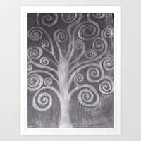 Tree On Black Black Drop Art Print by Oksana's Art