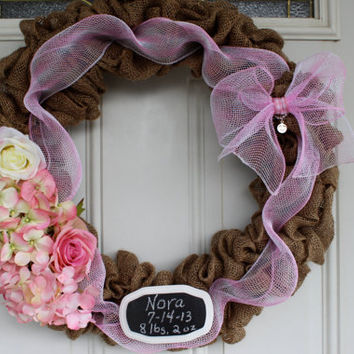 Baby girl pink burlap wreath with hydrangeas and roses, personalized shower gift, baby girl nursery decor