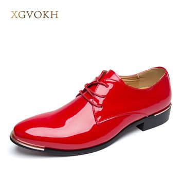 Mens Shoes Dress glossy white flat wedding shoes patent leather casual Solid luxury oxfords shoes for men