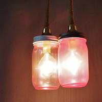 Mason Jar Duo Pendant Light Pink Tinted Glass and Jute by LITdecor