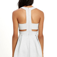 Cutout and About Heather Grey Skater Dress