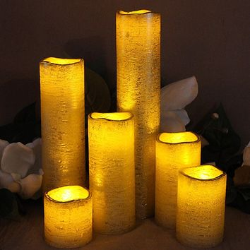 Rustic Gold Set of 6 Slim With Amber Yellow Flame Flameless Candles with Timer
