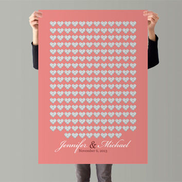 Guest book Poster Guest Book Alternative Heart Wedding Guest Book Print Wedding Guestbook Print for 200 Guest Wedding Poster