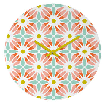 Heather Dutton Crazy Daisy Sorbet Round Clock