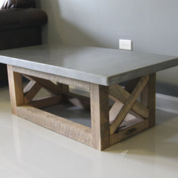Industrial Styled Concrete Coffee Table Reclaimed Wood Base.. Reclaimed Wood  , Barn Wood