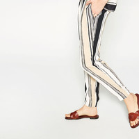 STRIPED CREPE TROUSERS - View All-TROUSERS-WOMAN | ZARA United States