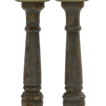 "Stylish Wood Metal Candle Holder Set Of 2, 5""W, 20""H"