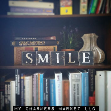 Smile Sign, Smile Art, Smile Tile Letters, Smile Wall Decor, Wooden Letter Blocks, Wood Letter Tiles, Shabby Chic Smile Sign Set, Gift Idea