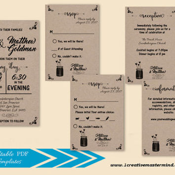DIY Wedding Invitation Set Template, RSVP, Details Card,Reception, Instant Download, Digital, Flower of Love #1CM86-1