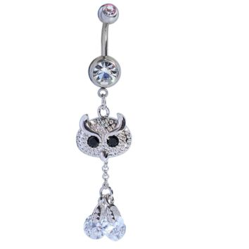 Fashion owl shaped zircon belly button ring antiallergic Navel Belly Ring-0427-Gifts box