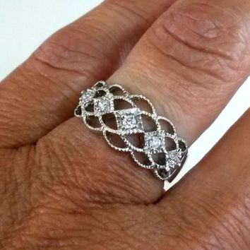 CZ Signed FAS Thai Silver Band Ring Sz7  Mothers Anniversary(2.9g) UntestedMetal
