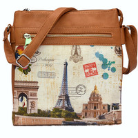 Eiffel Tower Print Leather Handbag