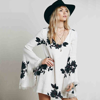 White Leaves Print Trumpet-Sleeve Dress