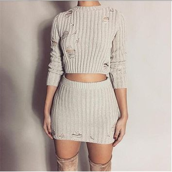 Women Autumn Knitted Dress Sexy 2 Piece Set Fashion Hollow Out Holes Bodycon Mini Dress Sexy Crop Top Ladies Two Piece Set