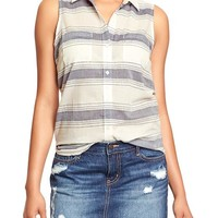 Women's Striped Sleeveless Shirts