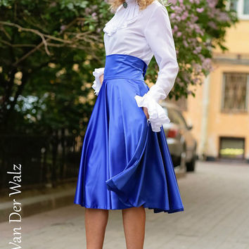 Maxi Skirt. Blue Skirt. Skirt with Pocket. Viscose,Cotton  / High Quality Designer summer long skirt. Midi Skirt, plus size skirt available