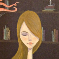 Original Portrait Painting - Amelia and the Sea - Library Art Book Painting