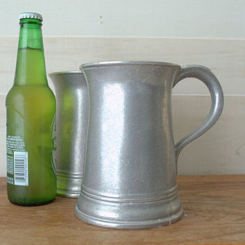 Extra Large Pewter Ale Mugs,  32 Ounce Rustic Silver Tankard, Wilton RWP 2 Pint Beer Mugs