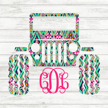Lilly Pulitzer {inspired} Monogrammed Jeep | Jeep Monogram | Jeep Vinyl Decal | Lilly Pulitzer Car Decal | Jeep Decal | Lilly Pulitzer Jeep