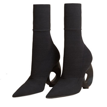 2017 Spring New Designer Boots Fretwork Heels Ankle Boots Pointes Toe High Heeled Booties Stretchy Sock Fretwork Heels shoes
