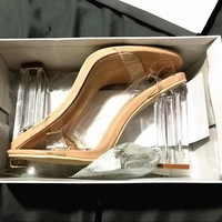 Fashion crystal with a word buckle sandals female high heels sexy open toe Transparent shoes-2