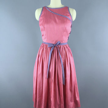Vintage 1960s Dress / 60s Day Dress / 1960 Pink Cocktail Dress / Thai Silk / Size 4 to 6