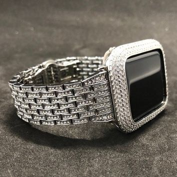 38/40 42/44mm Silver Apple Watch Band and or Lab Diamond Bezel. Iwatch band bling case cover Series 1,2,3,4
