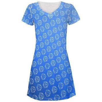 PEAPGQ9 D20 Gamer Critical Hit and Fumble Blue Pattern All Over Juniors Beach Cover-Up Dress