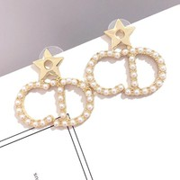 Dior S925 Silver Needle Popular Women CD Letter Pearl Stud Earrings Jewelry