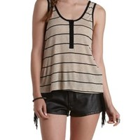 Oatmeal Heather Striped & Ribbed Henley Tank Top by Charlotte Russe