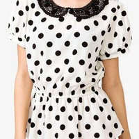Polka Dot Crocheted Collar Shirt | FOREVER 21 - 2040494848