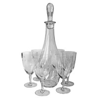 Decanter/Wine Goblet Set, Etched Atomic Star Pattern, Hand Blown Glass