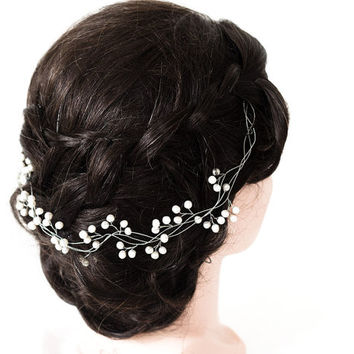 22_Pearl hair vine, Ivory pearl headband, Silver hair vine, Bridal hair vine, Silver headband, White bridal hair accessory, Bridal headband.