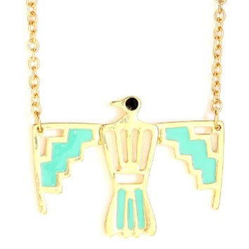 Thunderbird Necklace Gold Tone Southwest NM22 Neon Native American Bird Indian Pendant Fashion Jewelry