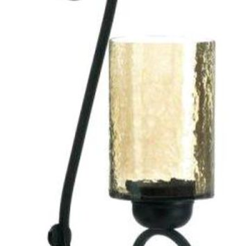 Cast Iron Iridescent Glass Scroll Wall Sconce