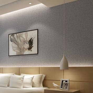 Home Improvement Plain Solid Color Imitation Straw Linen Cloth Wallpaper Modern Living Room Bedroom PVC Wallpaper Roll Size Grey