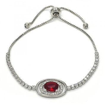 Rhodium Layered 03.155.0029.10 Fancy Bracelet, with Garnet Cubic Zirconia and White Crystal, Polished Finish, Rhodium Tone