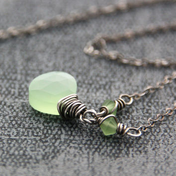 Mint Green Necklace Antique Silver Mat Semiprecious Stone Necklace Light Green Chalcedony Gemstone Jewelry Peridot Mat Swarovski Crystal