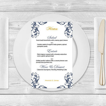 Wedding Menu Template - Navy Damask Flourish Menu Card Template - Printable Wedding Menu Card 4x7 Editable PDF Template - Instant Download