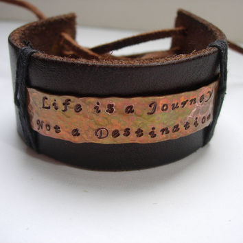 Laced Leather Cuff Bracelet with Hand Hammered Flamed Copper Stamped Message -Life is a Journey Not a Destination-